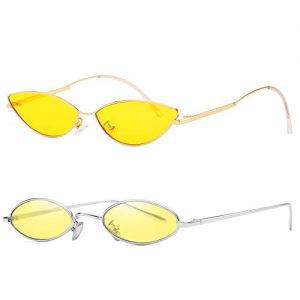 AOOFFIV Vintage Slender Oval Sunglasses Small Metal Frame Candy Colors (Yellow-2pack)