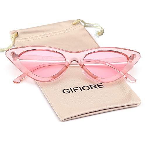 Retro Vintage Cat Eye Sunglasses for Women Clout Goggles Plastic Frame Glasses (Transparent Pink, 51)