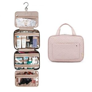 BAGSMART Toiletry Bag Travel Bag with hanging hook, Water-resistant Makeup Cosmetic Bag Travel Organizer for Accessories, Shampoo, Full Sized Container, Toiletries, Soft Pink