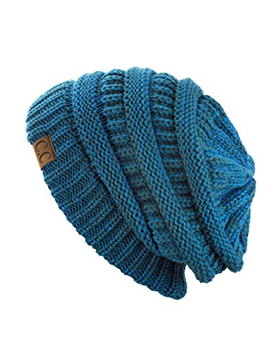 C.C Trendy Warm Chunky Soft Stretch Cable Knit Beanie Skully (2 Tone Blue/Teal)