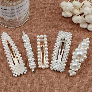 Warmfits Pearl Hair Clips Fashion Trendy Pearl Hair Accessories Gift for Women Girls - 5pcs Elegant Hair Styling Pearl Hair Pins Bridal Hair Barrettes for Wedding, Party and Daily Wearing (White)